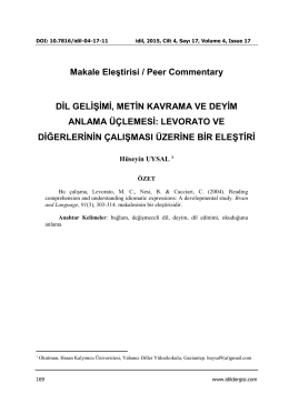 Makale Eleştirisi / Peer Commentary DİL GELİŞİMİ, METİN