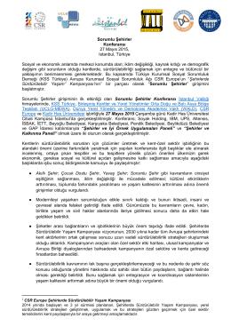 Sorumlu Şehirler Konferansı 27 Mayıs 2015, Istanbul, Türkiye