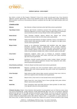 CRITEO HİZMETİ İşbu Hüküm ve Şartlar ile Ülke Programı