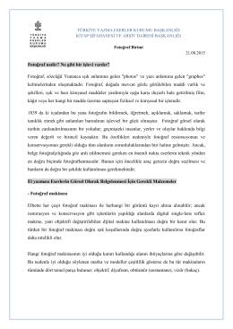 Fotoğraf Teknikleri - Türkiye Yazma Eserler Kurumu Başkanlığı
