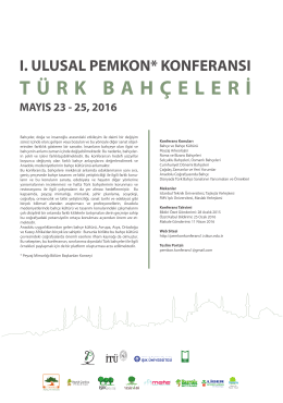 I. Ulusal PEMKON Konferans Posteri - pemkon - 2016
