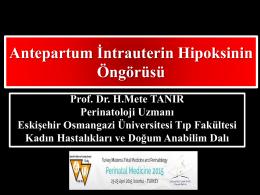 PowerPoint Sunusu - Türkiye Maternal Fetal Tıp ve Perinatoloji