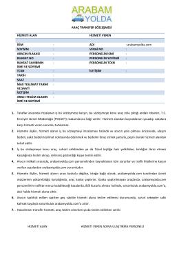 VERGİ NO - Bir Araç Transfer Hizmeti | arabamyolda.com