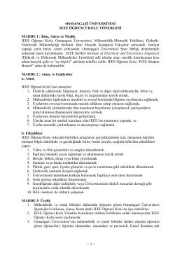 OSMANGAZİ ÜNİVERSİTESİ IEEE ÖĞRENCİ KOLU YÖNERGESİ