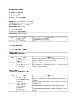 SEMPOZYUM PROGRAMI 08 EKİM 2015 PERŞEMBE 08:00 – 09