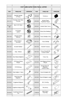 vvvf kabin kapısı yedek parça listesi