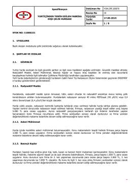 Spesifikasyon Doküman No YON.SPE.00878
