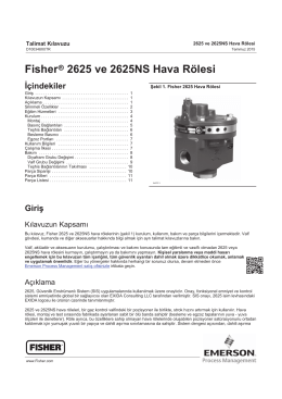 Fisherr 2625 ve 2625NS Hava Rölesi