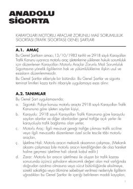 A.1. AMAÇ Bu Genel fiartların amacı,13/10/1983