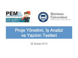 Proje Yönetimi, İş Analizi ve Yazılım Testleri - PEM