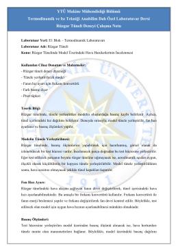 YTÜ Makine Mühendisliği Bölümü Termodinamik ve Isı Tekniği
