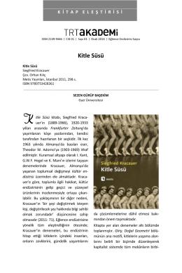 Kitle Süsü - trt akademi dergisi