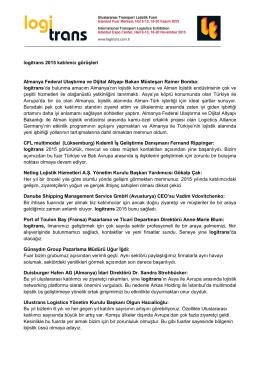 logitrans 2015 katılımcı görüşleri Almanya Federal Ulaştırma ve