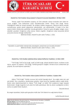 Atatürk ve Türk Ocakları - Türk Ocakları Karabük Şubesi