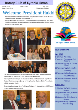Welcome President Hakki - Rotary Clubs of Cyprus