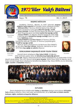 1972`liler Vakfı Bülteni - 1972liler Sosyal Yardımlaşma ve