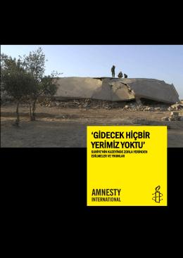 gġdecek hġçbġr yerġmġz yoktu - Uluslararası Af Örgütü Türkiye