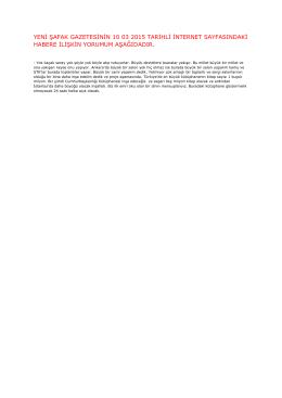 yeni şafak gazetesinin 10 03 2015 tarihli internet