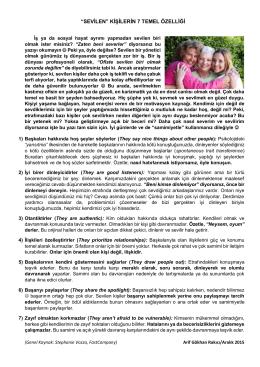 Sevilen Kişilerin 7 Temel Özelliği ( Arif Gökhan RAKICI )