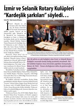 """İzmir ve Selanik Rotary Kulüpleri """"Kardeşlik şarkıları"""" söyledi…"""