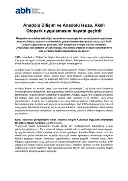 Anadolu Bilişim ve Anadolu Isuzu, Akıllı Otopark uygulamasını