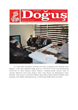 26. Vergi Haftası Nedeniyle Defterdarlığımızın Gazete Ziyaretleri