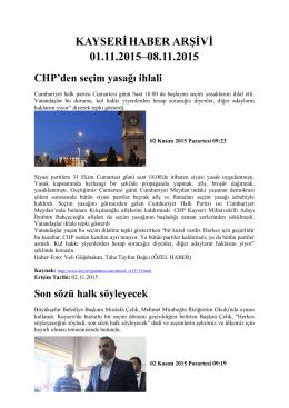 kayserihaber arşivi 01.11.2015–08.11.2015 - Kayham