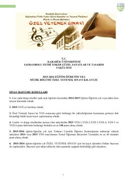 Müzik Bölümü Özel Yetenek Sınav Kılavuzu