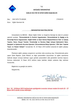 Boğaziçi Üniversitesi Rektörlük Davet Yazısı ve Başvuru