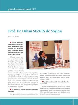 Prof. Dr. Orhan SEZGİN ile Söyleşi