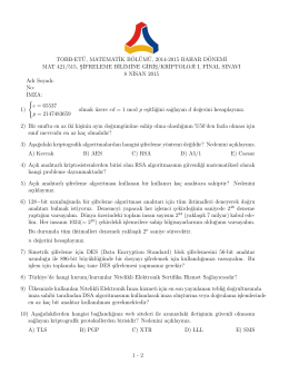 Final Sınavı İlan edilmiştir. Teslim Tarihi 9 Nisan, Saat 10:00.