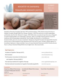 KDTD E-Bülten 2015 Cilt 1 Sayı 3 - Kognitif ve Davranış Terapileri