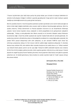 Atıf Cezairli, Ph.D., CFA, CAIA Managing Partner İstanbul Portföy