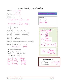 termodinamik – 1 formül kağıdı
