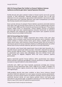 2015 Yılı Finansal Rapor Tarih ve Islem Yapma - TKYD