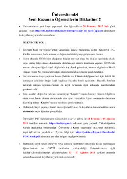 Kayıt Bilgileri - Mehmet Akif Ersoy Üniversitesi Öğrenci İşleri Daire