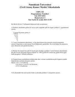 Ödeviniz - Pamukkale Üniversitesi