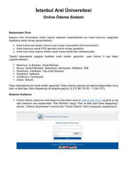 kullanım kılavuzu - İstanbul Arel Üniversitesi Ödeme Sistemi Giriş