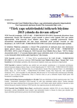 """""""Türk yapı sektöründeki istikrarlı büyüme 2015 yılında da devam"""