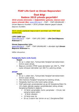 FIAP Life Card ve Unvan Başvuruları Özet Bilgi Sadece 2015 yılında