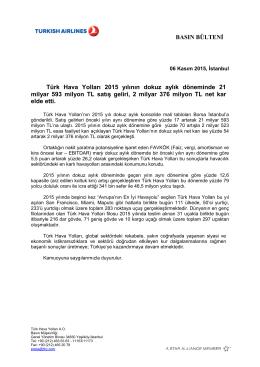 BASIN BÜLTENİ Türk Hava Yolları 2015 yılının dokuz aylık