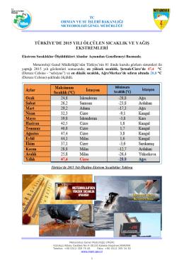 Türkiye`de 2015 Yılında Ölçülen Sıcaklık ve Yağış Ekstremleri