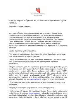 Boyner & OAB 2014-2015 yıl sonu faaliyet raporu