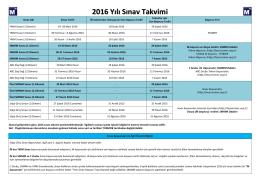 2016 Yılı Sınav Takvimi hk.