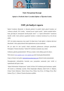 2015 Yılı Faaliyet Raporları - Türk Nöroşirurji Derneği Spinal ve