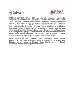 """""""TÜBİTAK ULAKBİM EKUAL 2015 yılı abonelik çalışmaları"""