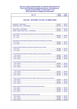 2015 yılı Jeolojik-Jeoteknik Etütler ile Jeoteknik Hizmet İşlerine Ait