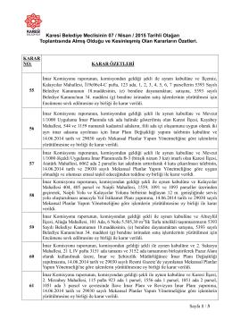 7 Nisan Meclis Karar Özetleri - Balıkesir Karesi Belediyesi Resmi