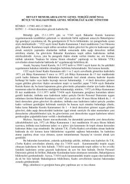 DEVLET MEMURLARI KANUNU GENEL TEBLİĞİ (SERİ NO 6