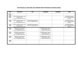 biyoteknoloji bölümü güz dönem ders programı (yükseklisans)